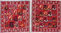 Pack Of 2 Abadeh Persian Hand-Knotted 2x2 Red Square Wool Rug