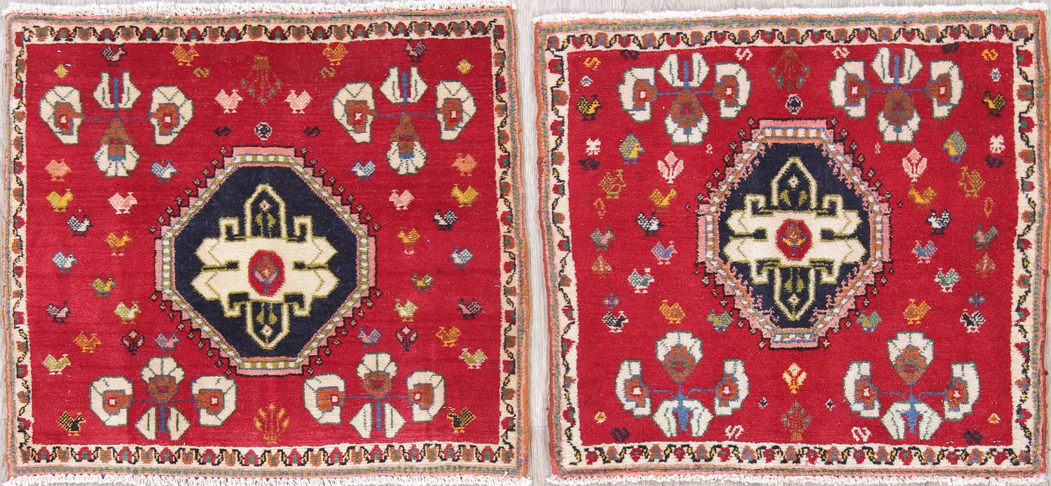 Pack of Two Tribal Abadeh Persian Hand-Knotted 2x2 Red Square Wool Rug image 1