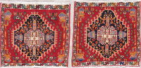 Pack Of Two Tribal Abadeh Persian Hand-Knotted 2x2 Square Rug