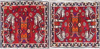 Pack Of Two Tribal Abadeh Persian Hand-Knotted 2x2 Red Square Wool Rug
