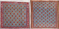 Pack Of Two Geometric Abadeh Persian Hand-Knotted 2x2 Blue Square Rug