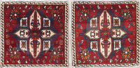 Pack of Two Geometric Abadeh Persian Hand-Knotted 2x2 Square Rug