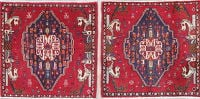 Pack Of Two Tribal Abadeh Persian Hand-Knotted 2x2 Square Wool Rug