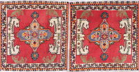 Pair Of Animal Pictorial Abadeh Persian Hand-Knotted 2x2 Red Square Rug