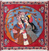 Pictorial Abadeh Persian Hand-Knotted 2x2 Square Wool Rug
