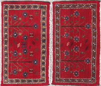 Pack Of Two Geometric Abadeh Persian Hand-Knotted 1x2 Red Rug Wool