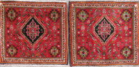 Pack Of 2 Geometric Abadeh Persian Hand-Knotted 2x2 Red Square Rug Wool