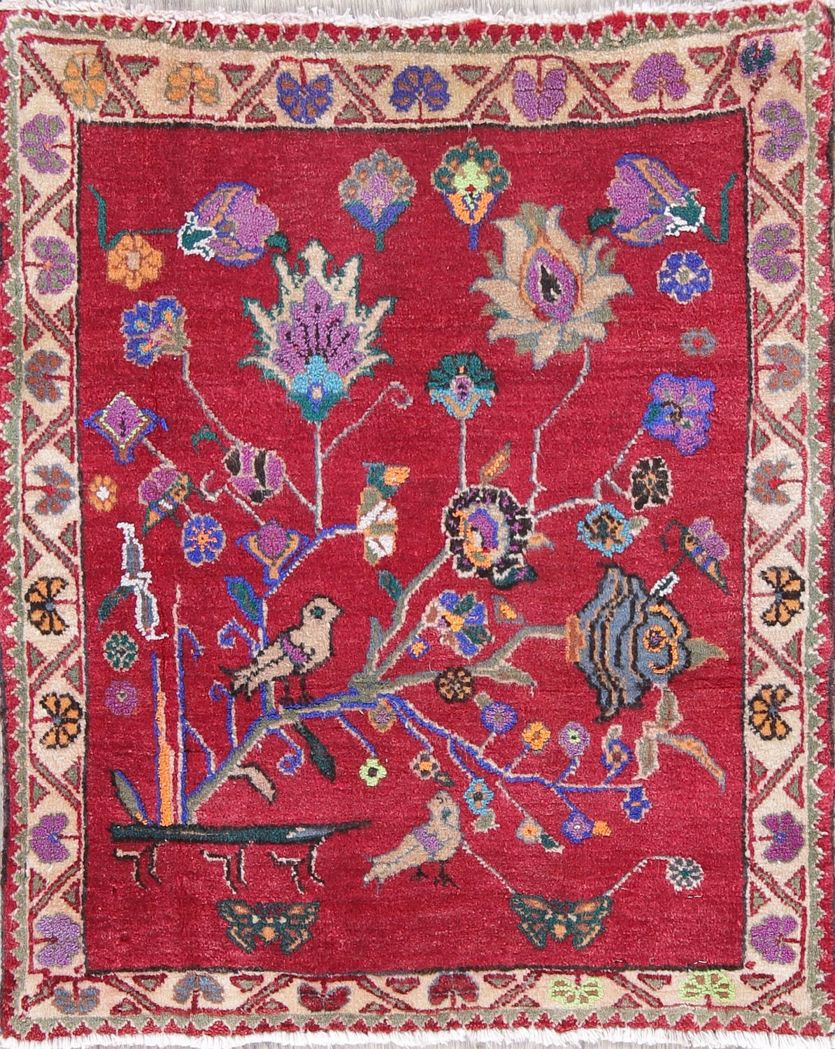 Floral Abadeh Persian Hand Knotted 2x2 Red Square Rug Wool
