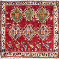 Tribal Geometric Abadeh Persian Hand-Knotted 2x2 Red Square Rug Wool
