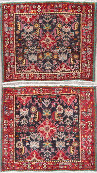 Pack Of Two Geometric Abadeh Persian Hand-Knotted 2x2 Charcoal Square Rug