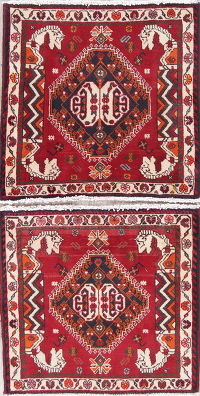 Pack of Two Geometric Abadeh Persian Hand-Knotted 2x2 Red Square Rug