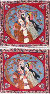 Pack Of Two Pictorial Abadeh Persian Hand-Knotted 2x2 Square Wool Rug