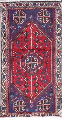 Tribal Geometric Abadeh Persian Hand-Knotted 2x3 Red Rug Wool
