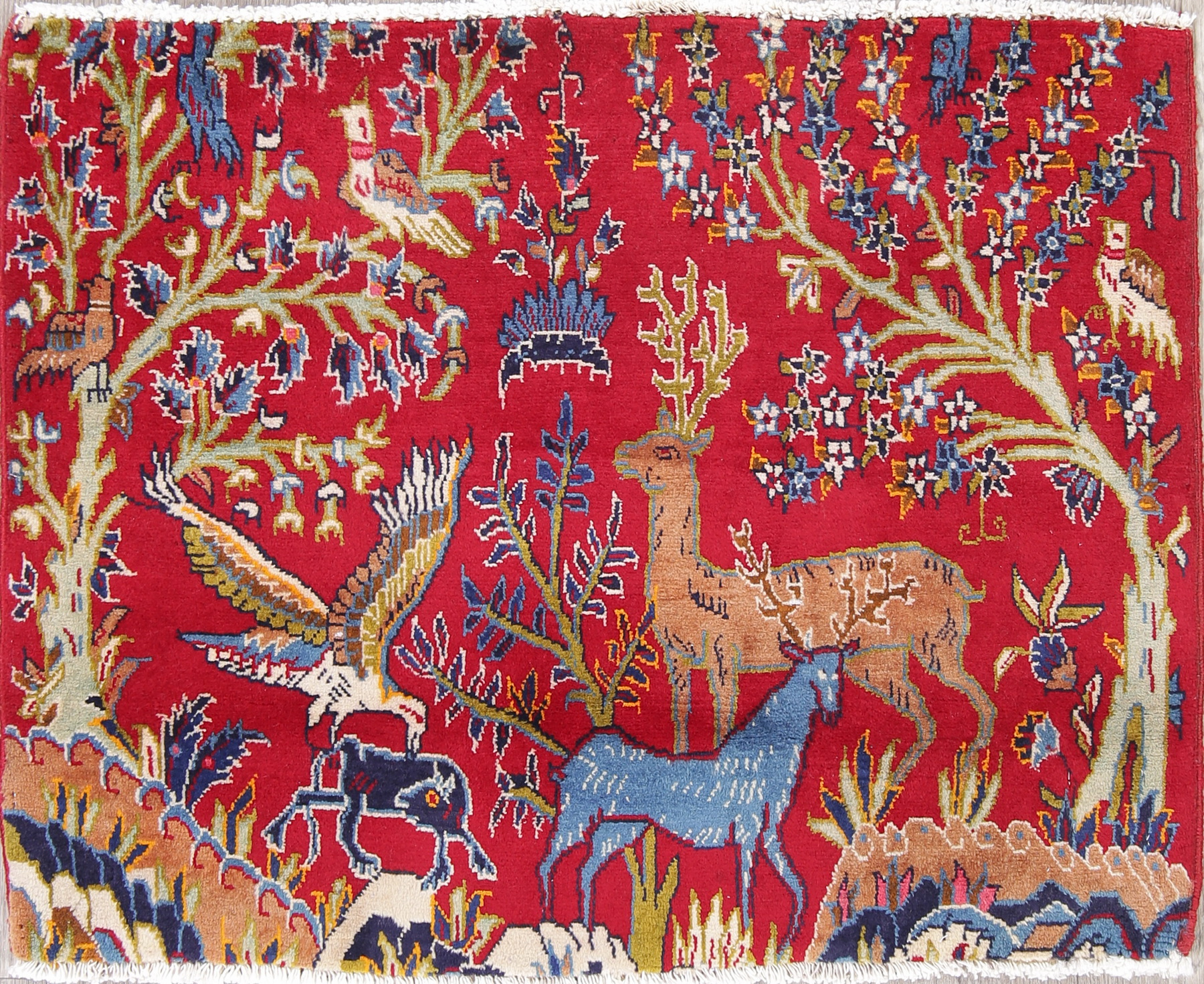 Animal Pictorial Bidjar Persian Hand Knotted 2x3 Red Rug Wool