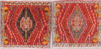 Pack Of Two Geometric Abadeh Persian Hand-Knotted 2x2 Red Square Wool Rug