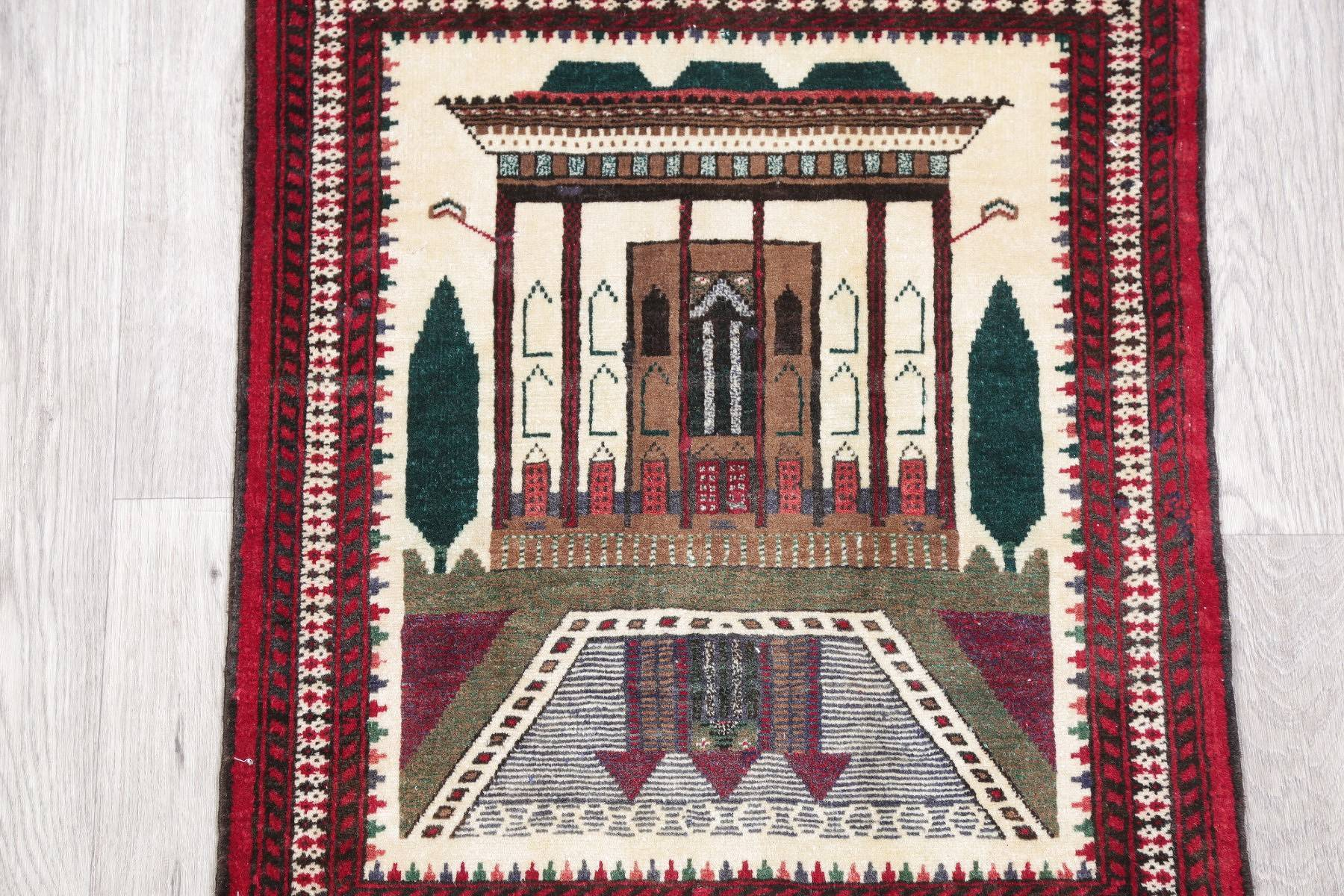 Pictorial Balouch Persian Hand-Knotted 2x3 Wool Rug
