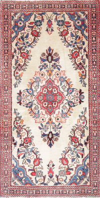 Floral Kashan Persian Hand-Knotted 2x4 Ivory Rug Wool