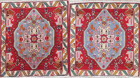 Pack Of Two Abadeh Persian Hand-Knotted 2x2 Red Square Wool Rug