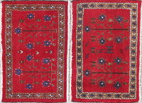 Pack Of Two Geometric Abadeh Persian Hand-Knotted 1x2 Red Wool Rug