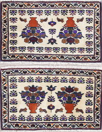 Pack Of Two Floral Turkoman Persian Hand-Knotted 2x3 Ivory Wool Rug