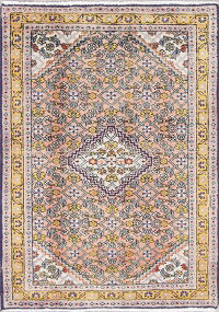 Geometric Bidjar Persian Hand-Knotted 2x3 Peach Rug Wool