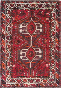 Tribal Geometric Shiraz Persian Hand-Knotted 3x4 Red Wool Rug