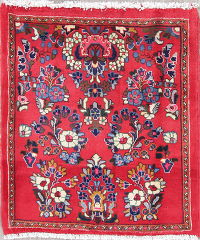Floral Sarouk Persian Hand-Knotted 2x3 Red Wool Rug