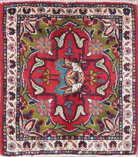 Floral Ardebil Persian Hand-Knotted 2x2 Red Square Wool Rug
