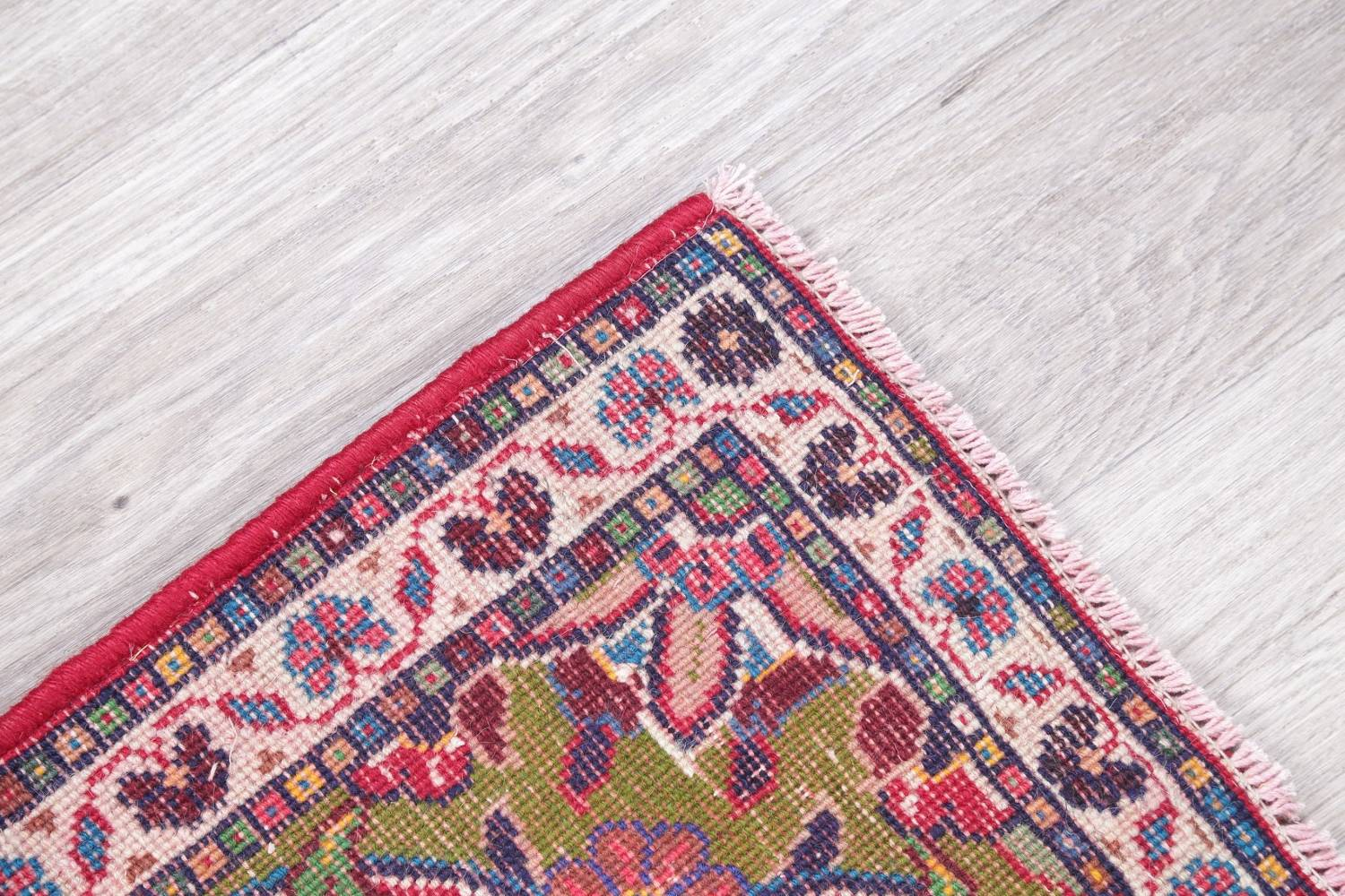Floral Ardebil Persian Hand Knotted 2x2 Red Square Wool Rug