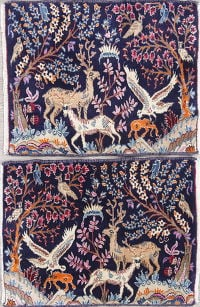 Pack Of Two Animal Pictorial Bidjar Persian Hand-Knotted 2x3 Navy Blue Rug Wool
