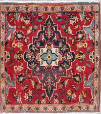 Floral Kashan Persian Hand-Knotted 2x3 Red Wool Rug