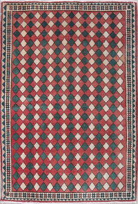 Geometric Abadeh Persian Hand-Knotted 2x3 Red Wool Rug