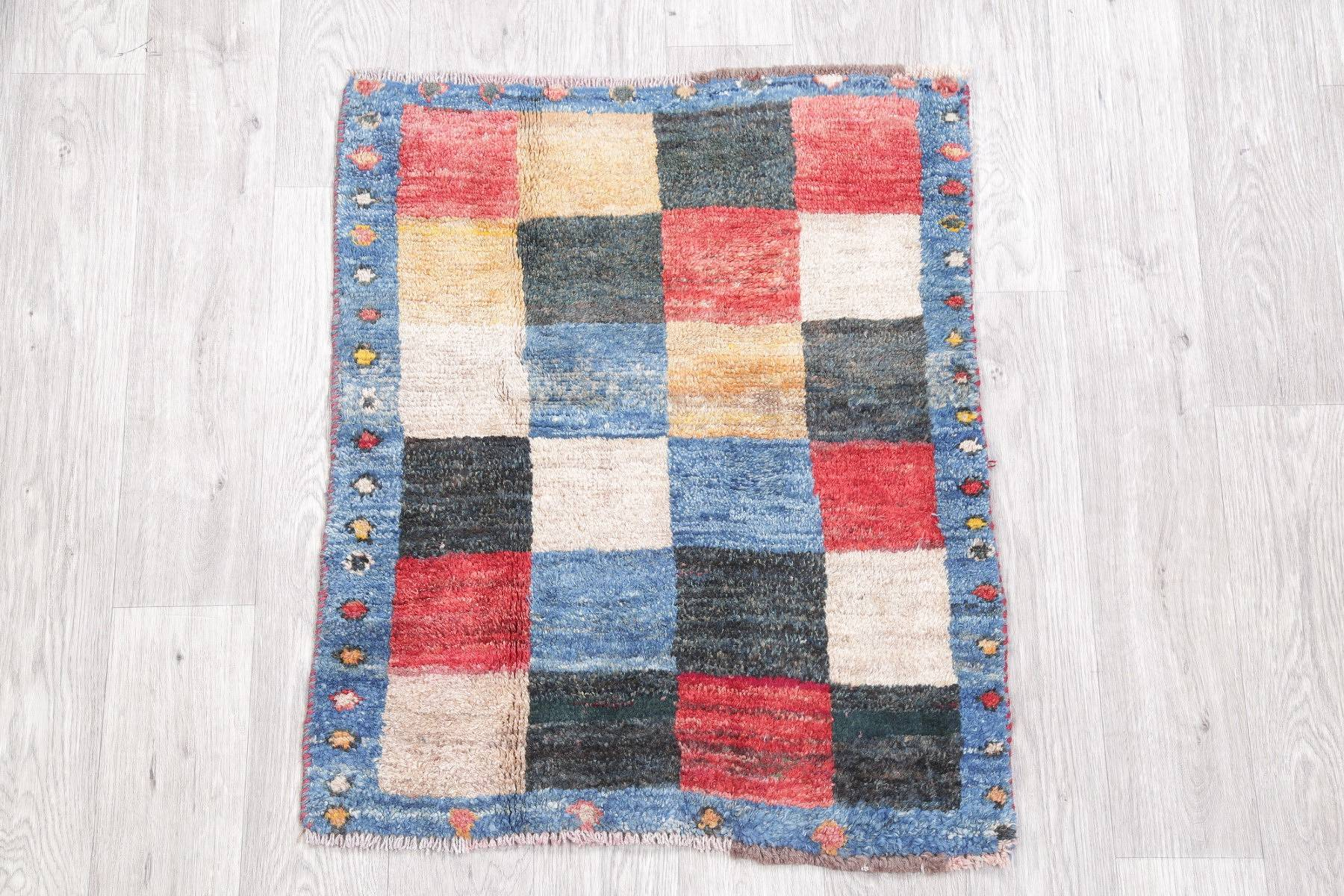 Modern Checked Gabbeh Persian Hand-Kotted 2x3 Wool Rug