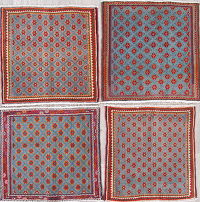 Pack Of 4 Geometric Abadeh Persian Hand-Knotted 2x2 Square Rug Wool