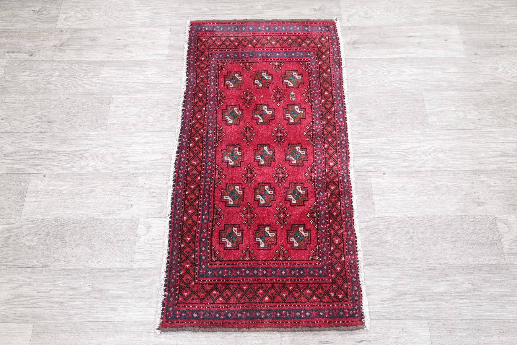 Geometric Balouch Persian Hand-Knotted 2x4 Red Wool Rug