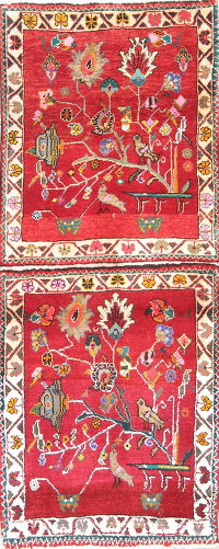 Tribal Pictorial Abadeh Persian Hand-Knotted 2x4 Red Rug Wool