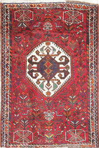 Tribal Geometric Shiraz Persian Hand-Knotted 2x4 Red Wool Rug