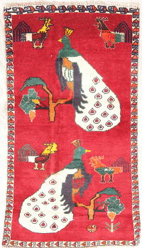 Animal Pictorial Abadeh Persian Hand-Knotted 2x4 Red Rug Wool