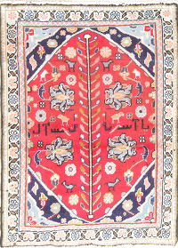 Floral Khoy Persian Hand-Knotted 3x3 Red Square Rug Wool