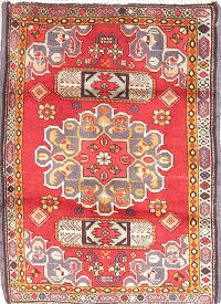 Geometric Ardebil Persian Hand-Knotted 2x3 Red Wool Rug