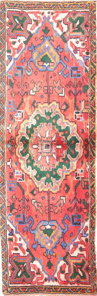 Geometric Heriz Persian Hand-Knotted 2x5 Red Runner Wool Rug