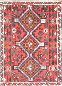 Tribal Geometric Shiraz Persian Hand-Knotted 3x5 Red Wool Rug