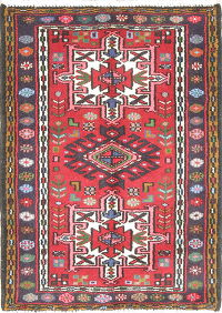 Tribal Geometric Gharajeh Persian Hand-Knotted 2x3 Red Wool Rug