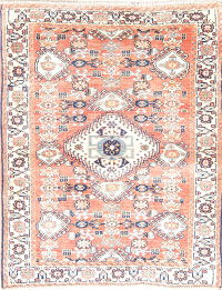 Geometric Abadeh Persian Hand-Knotted 3x4 Rust Wool Rug