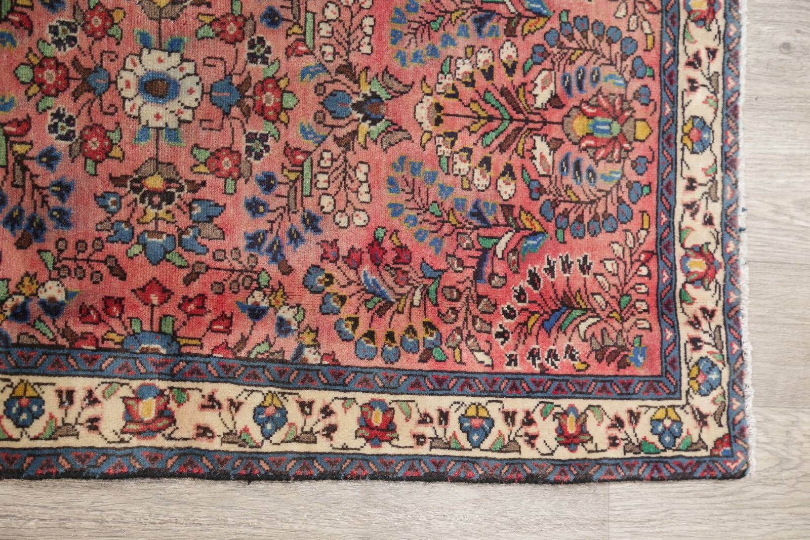 Antique All-Over Floral Sarouk Persian Handmade 2x4 Pink Wool Rug