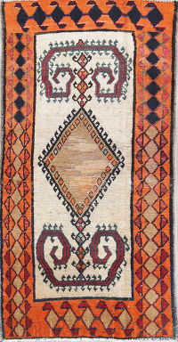Antique Geometric Gabbeh Qashqai Persian Hand-Knotted 2x5 Ivory Runner Rug Wool