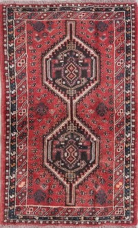 Geometric Shiraz Persian Hand-Knotted 3x4 Red Wool Rug