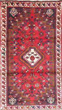 Geometric Shiraz Persian Hand-Knotted 2x4 Red Wool Rug