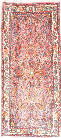 Floral Lilian Hamedan Persian Hand-Knotted 2x5 Pink Runner Rug Wool