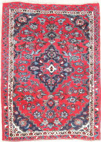 Floral Mahal Persian Hand-Knotted 3x5 Red Wool Rug